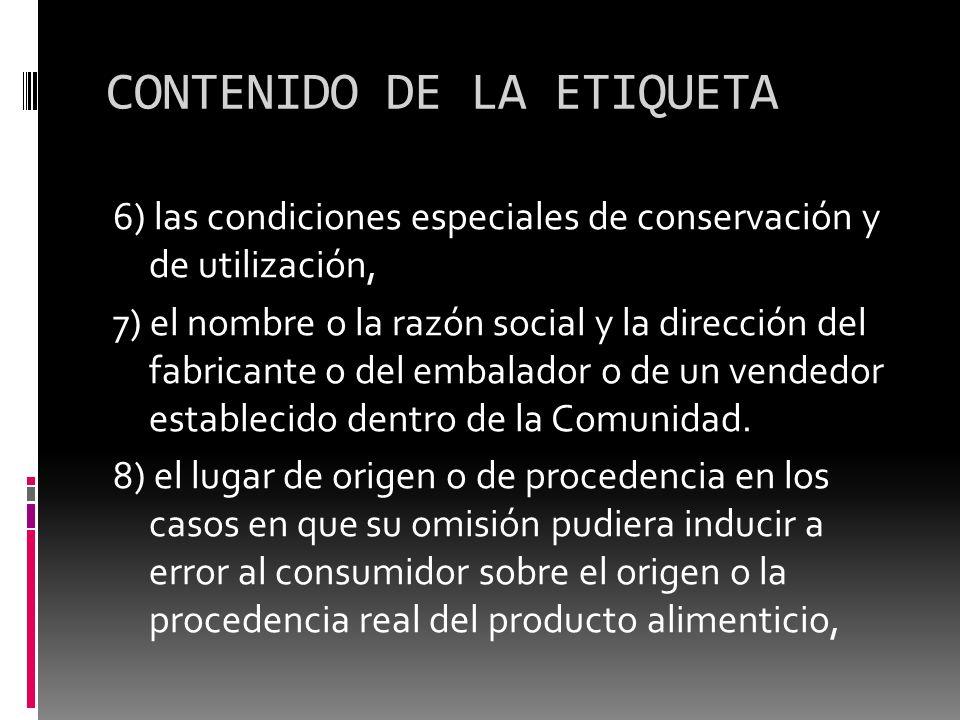 CONTENIDO DE LA ETIQUETA