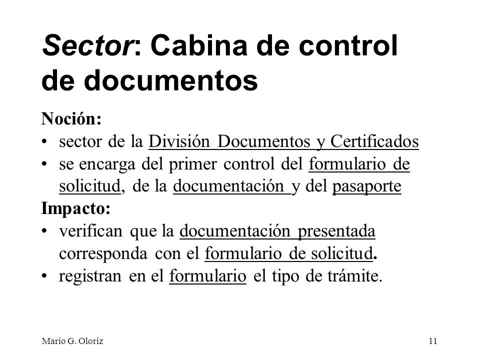 Sector: Cabina de control de documentos