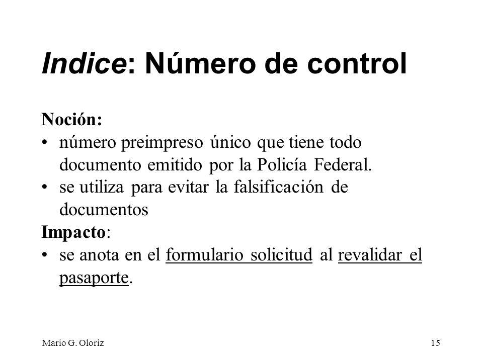 Indice: Número de control