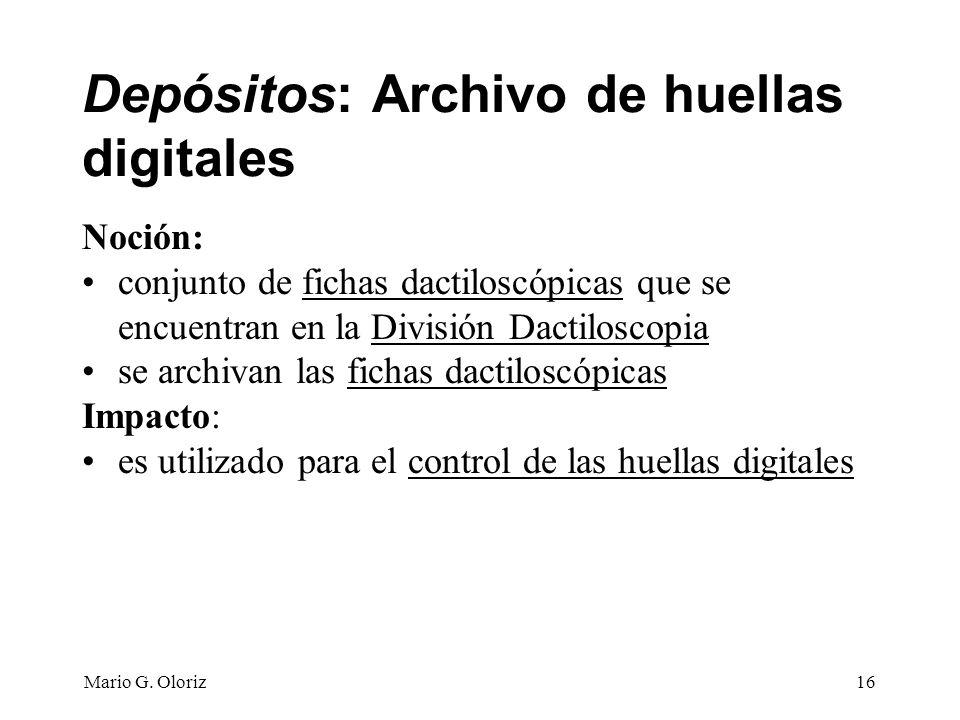 Depósitos: Archivo de huellas digitales