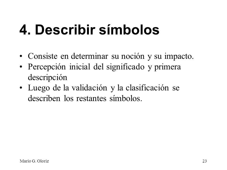4. Describir símbolos Consiste en determinar su noción y su impacto.