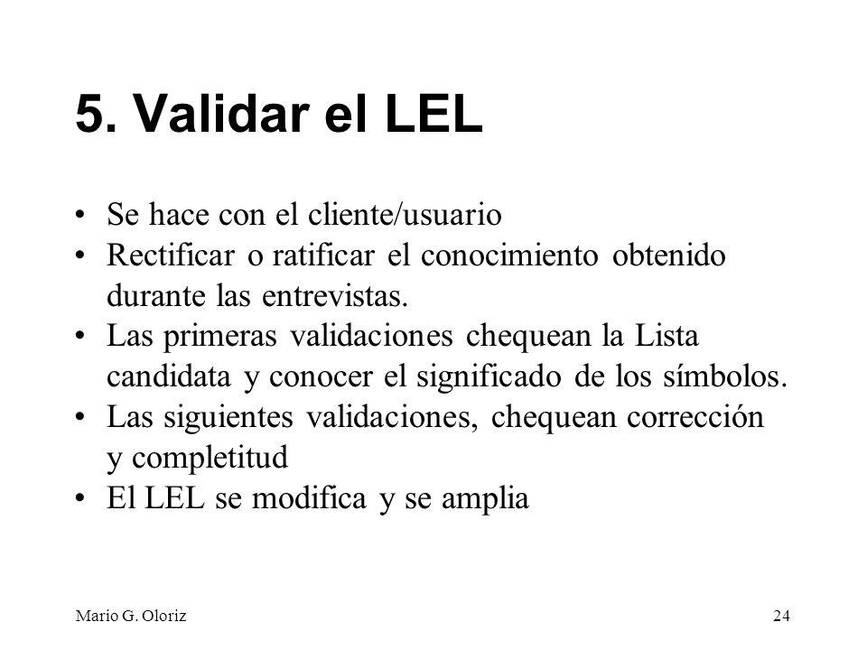 5. Validar el LEL Se hace con el cliente/usuario