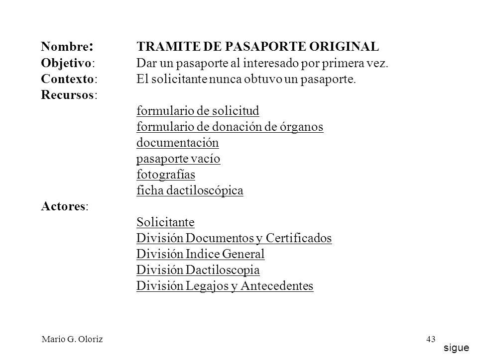 Nombre: TRAMITE DE PASAPORTE ORIGINAL