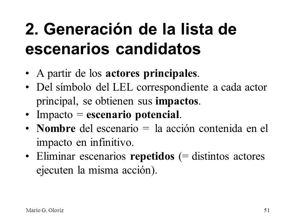 2. Generación de la lista de escenarios candidatos