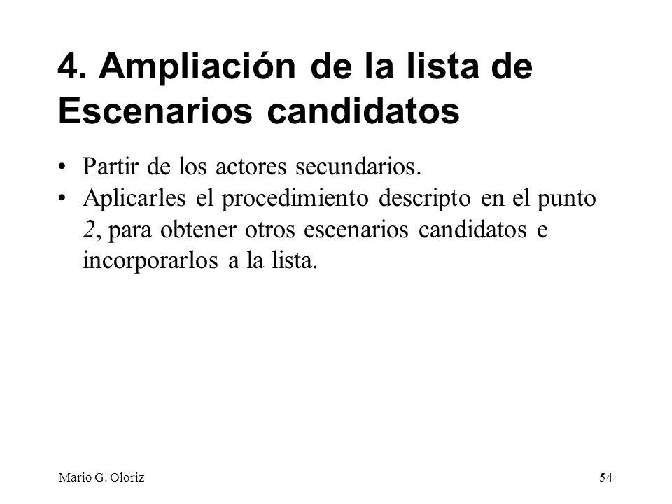 4. Ampliación de la lista de Escenarios candidatos