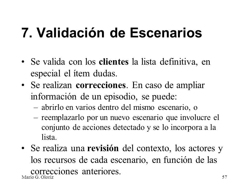 7. Validación de Escenarios