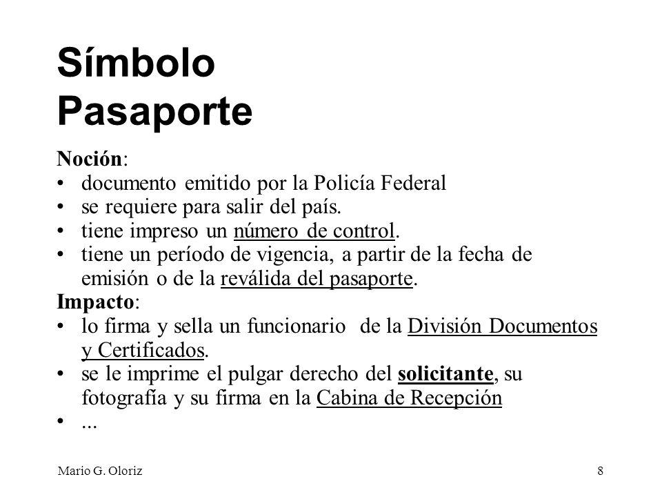 Símbolo Pasaporte Noción: documento emitido por la Policía Federal