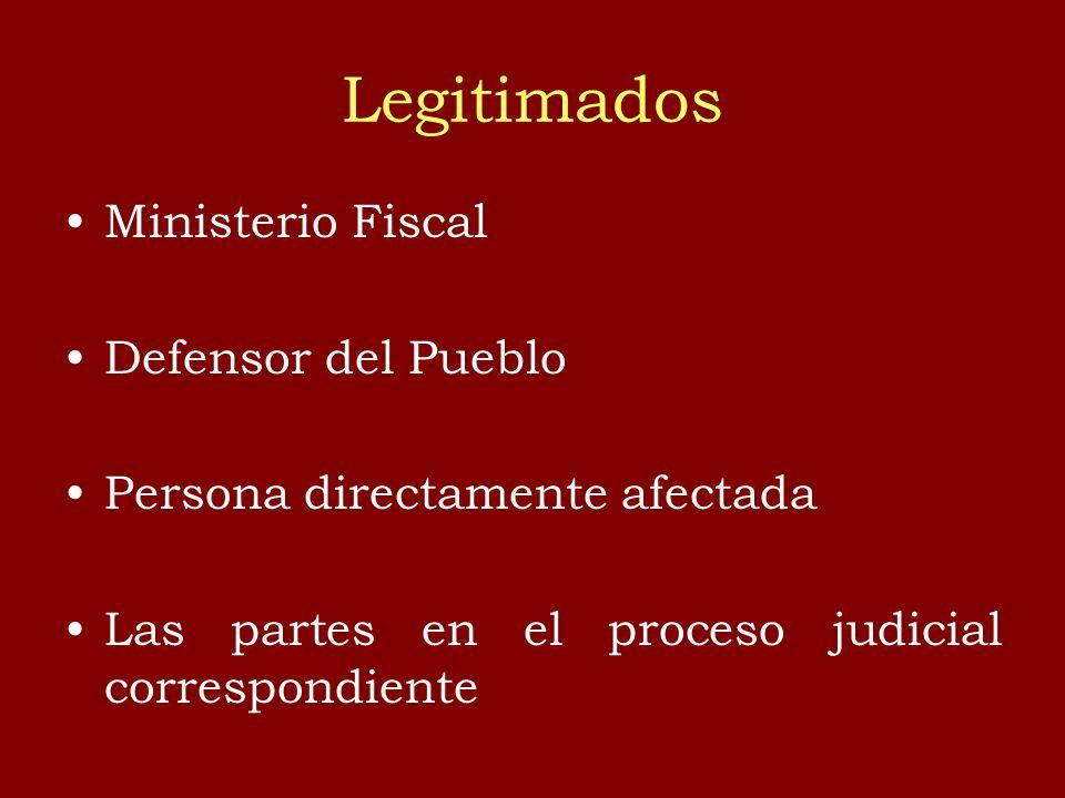 Legitimados Ministerio Fiscal Defensor del Pueblo