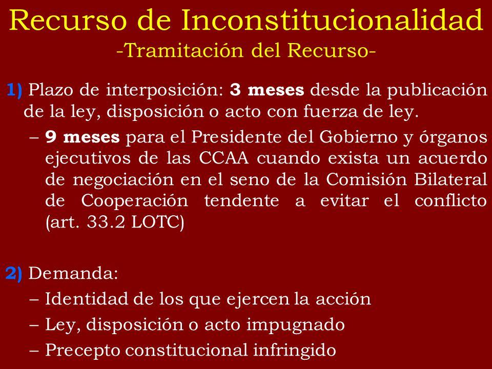 Recurso de Inconstitucionalidad -Tramitación del Recurso-