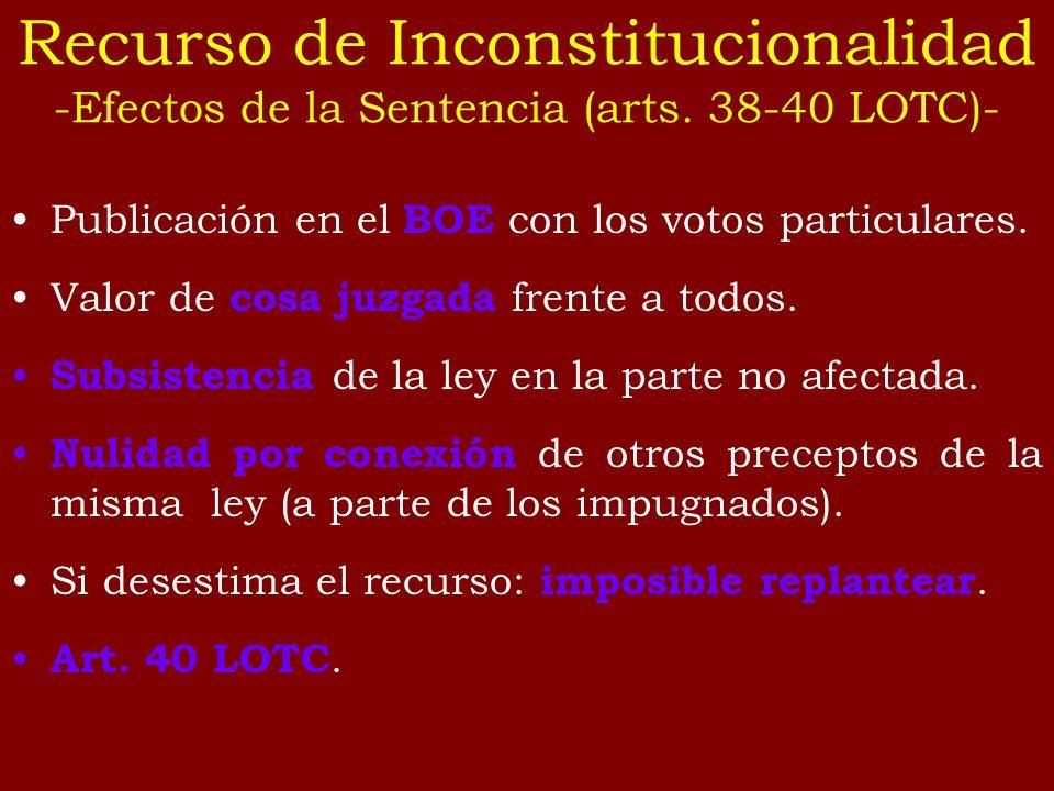 Recurso de Inconstitucionalidad -Efectos de la Sentencia (arts