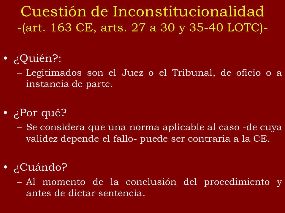 Cuestión de Inconstitucionalidad -(art. 163 CE, arts