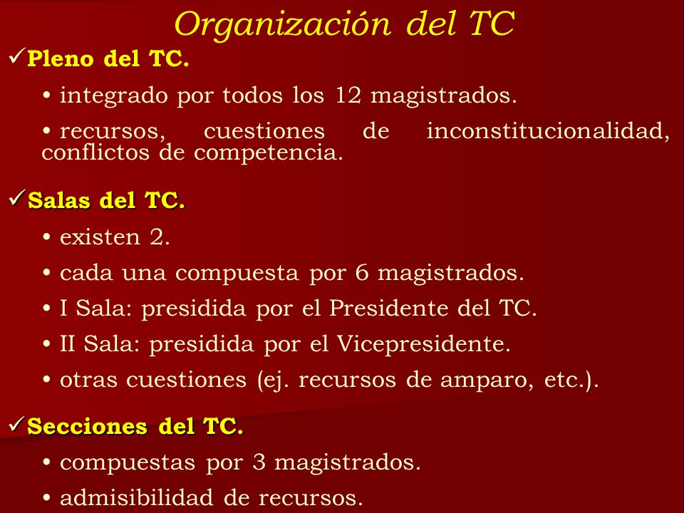 Organización del TC Pleno del TC. Salas del TC.
