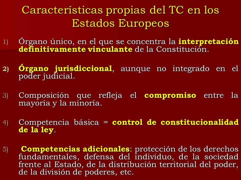Características propias del TC en los Estados Europeos