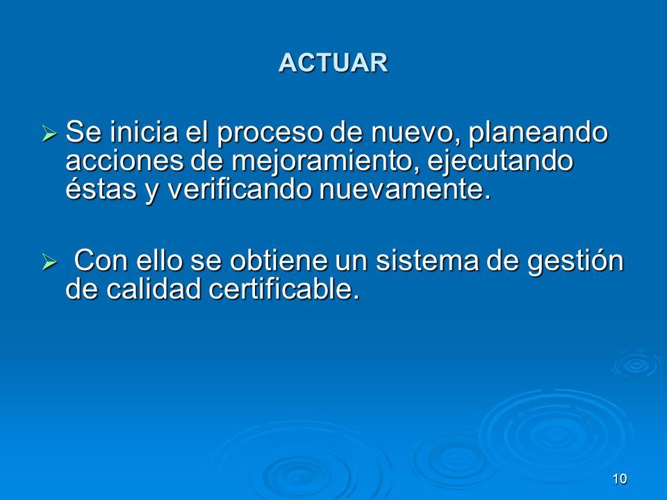 Con ello se obtiene un sistema de gestión de calidad certificable.