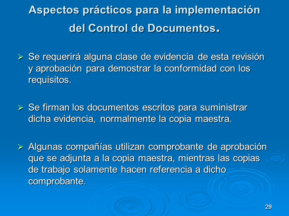 Aspectos prácticos para la implementación del Control de Documentos.