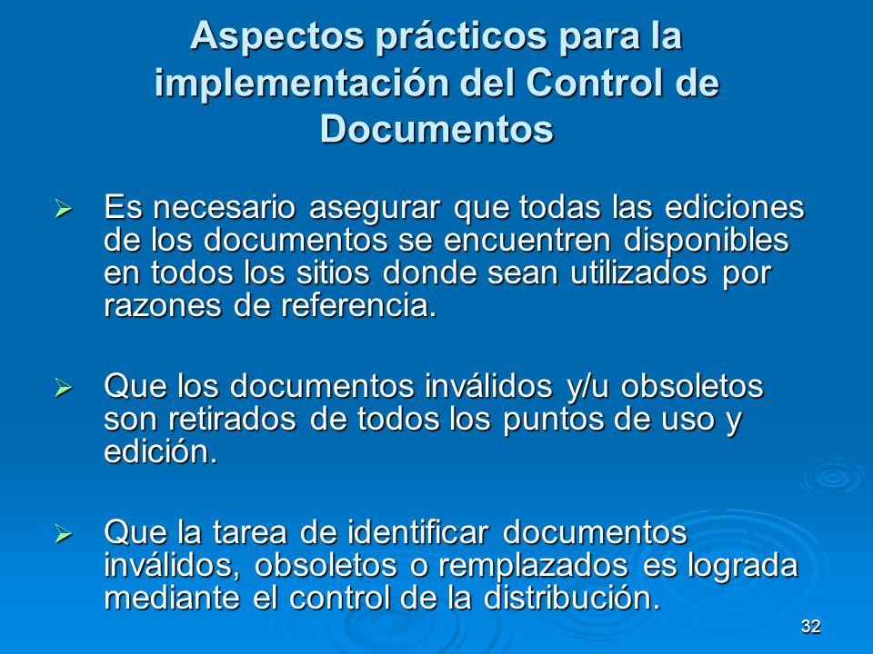 Aspectos prácticos para la implementación del Control de Documentos