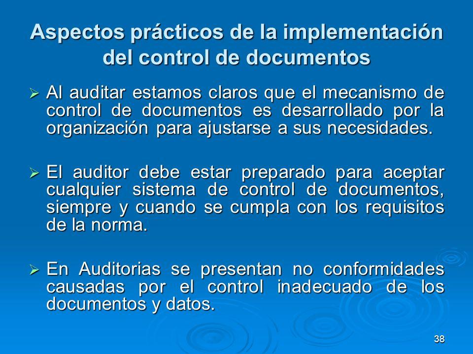 Aspectos prácticos de la implementación del control de documentos