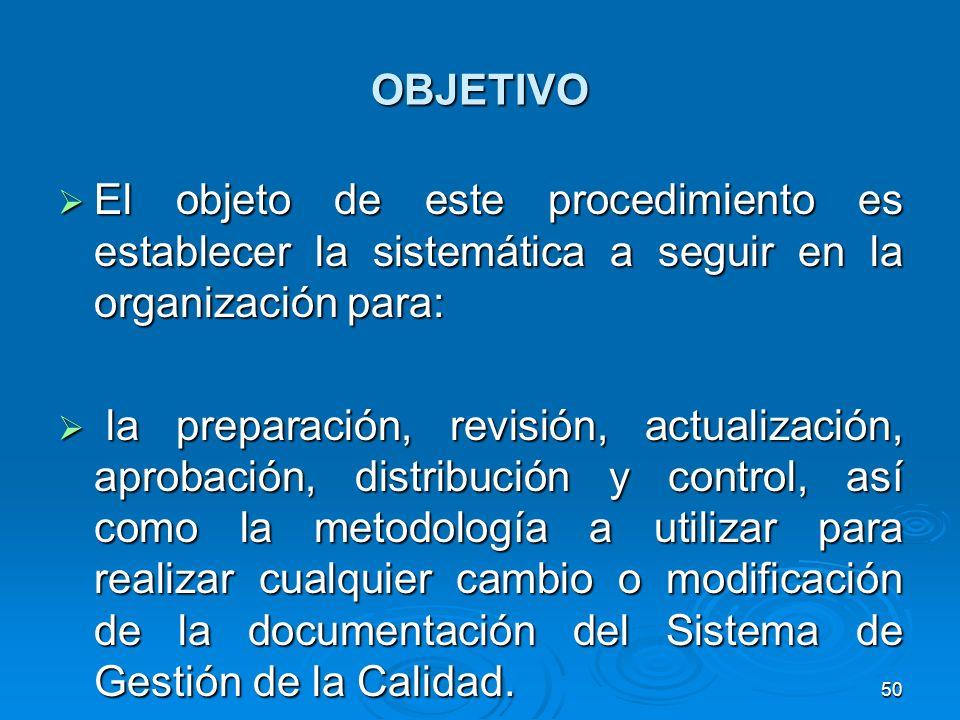 OBJETIVO El objeto de este procedimiento es establecer la sistemática a seguir en la organización para: