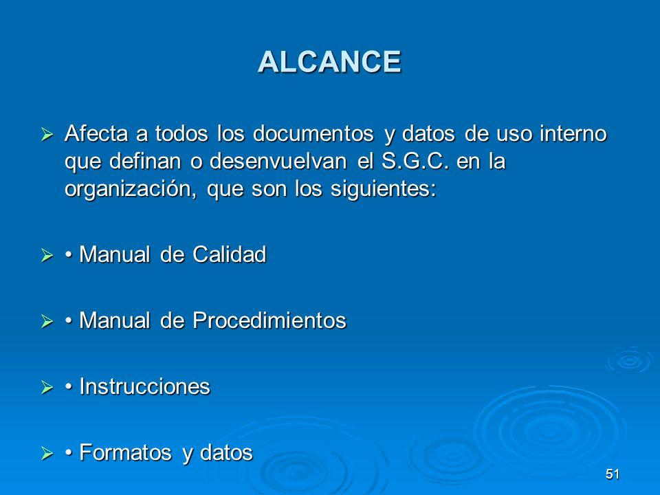 ALCANCE Afecta a todos los documentos y datos de uso interno que definan o desenvuelvan el S.G.C. en la organización, que son los siguientes: