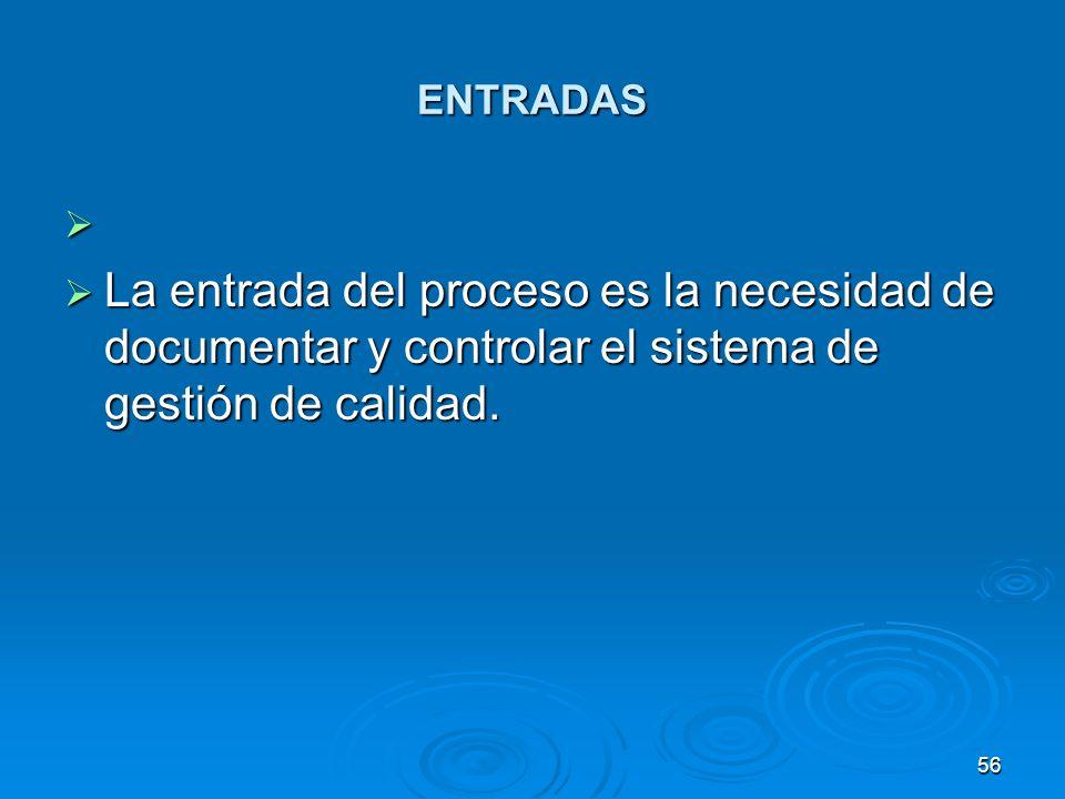 ENTRADAS La entrada del proceso es la necesidad de documentar y controlar el sistema de gestión de calidad.