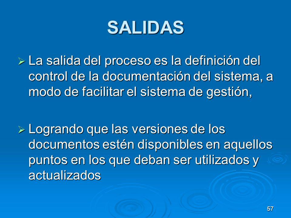 SALIDAS La salida del proceso es la definición del control de la documentación del sistema, a modo de facilitar el sistema de gestión,