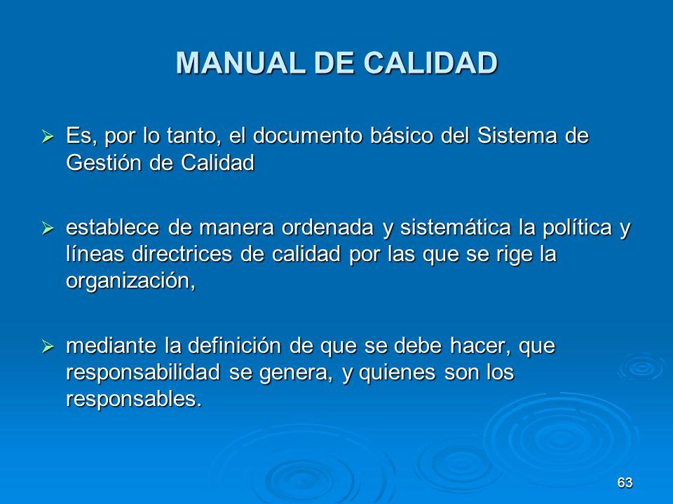 MANUAL DE CALIDAD Es, por lo tanto, el documento básico del Sistema de Gestión de Calidad.