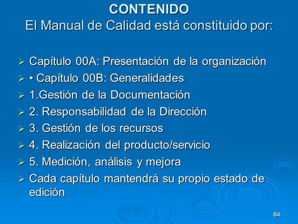 CONTENIDO El Manual de Calidad está constituido por: