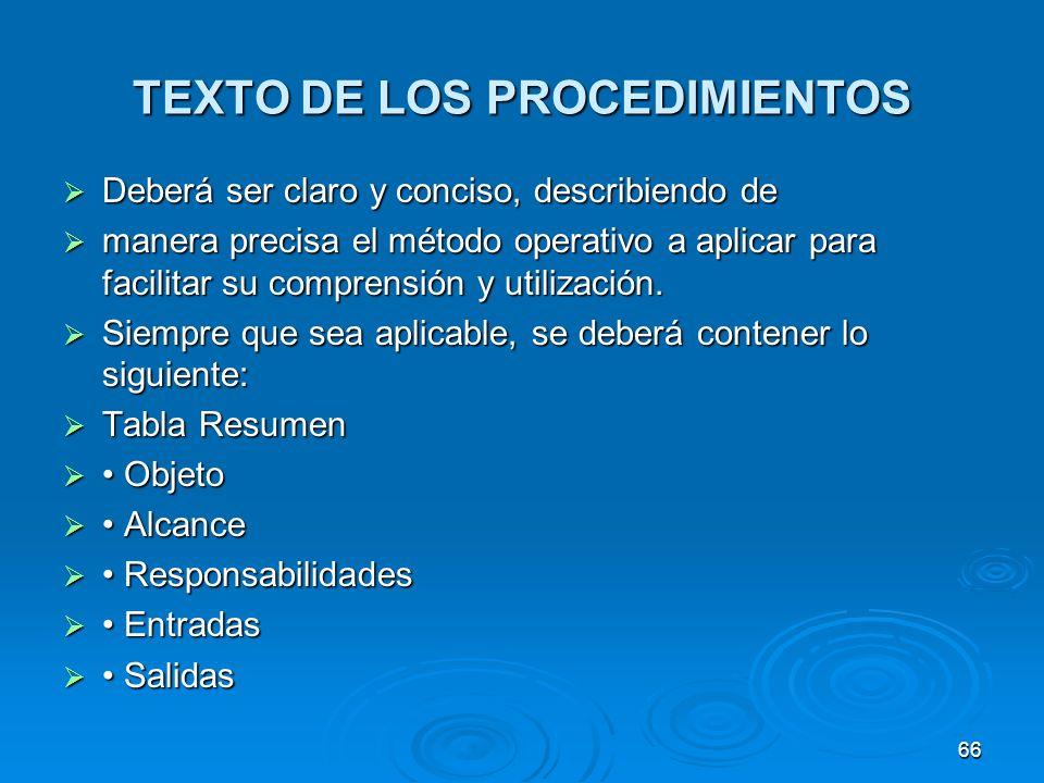 TEXTO DE LOS PROCEDIMIENTOS