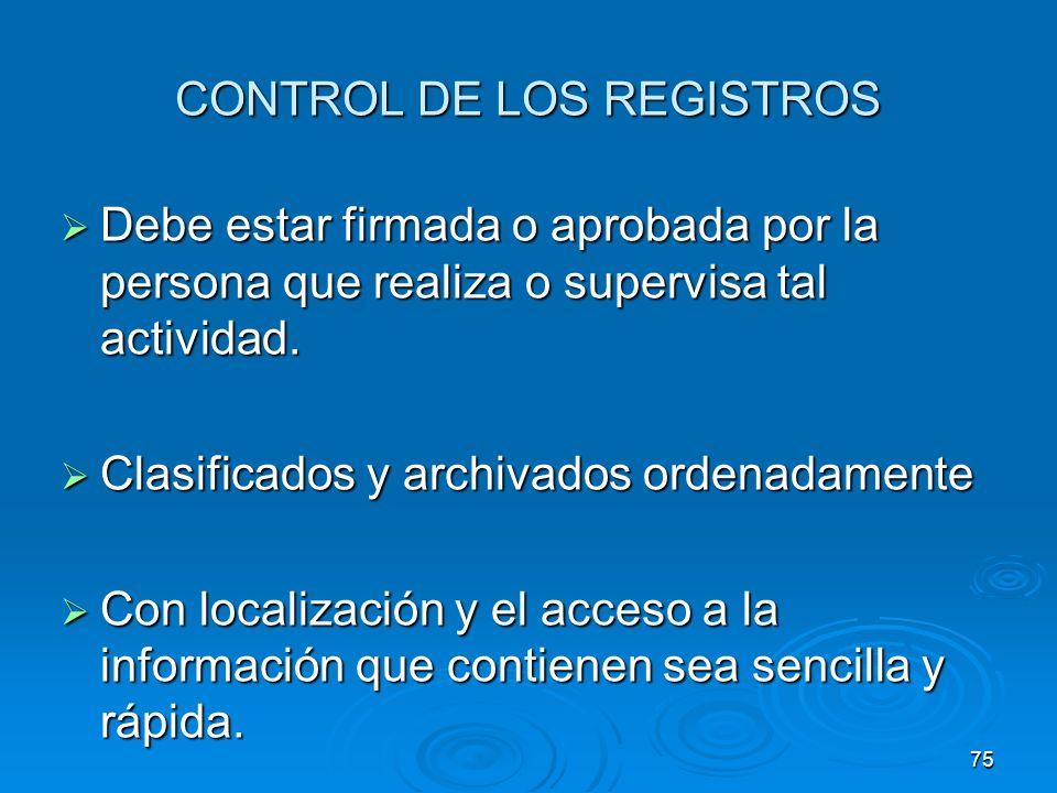 CONTROL DE LOS REGISTROS