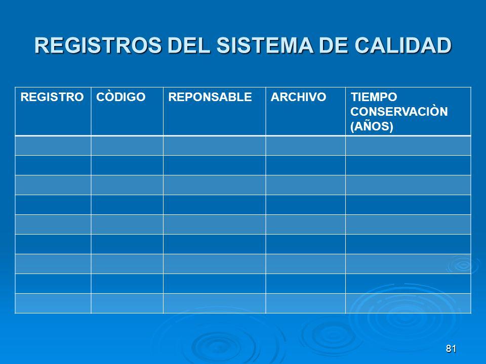 REGISTROS DEL SISTEMA DE CALIDAD