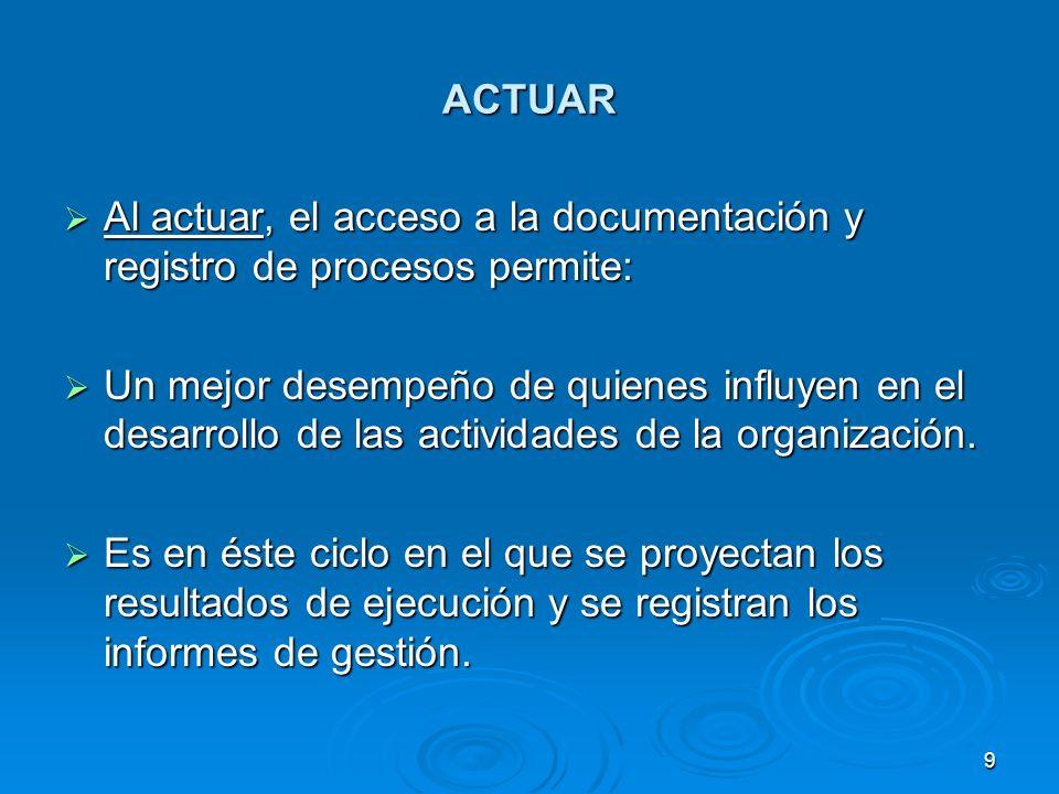 ACTUAR Al actuar, el acceso a la documentación y registro de procesos permite: