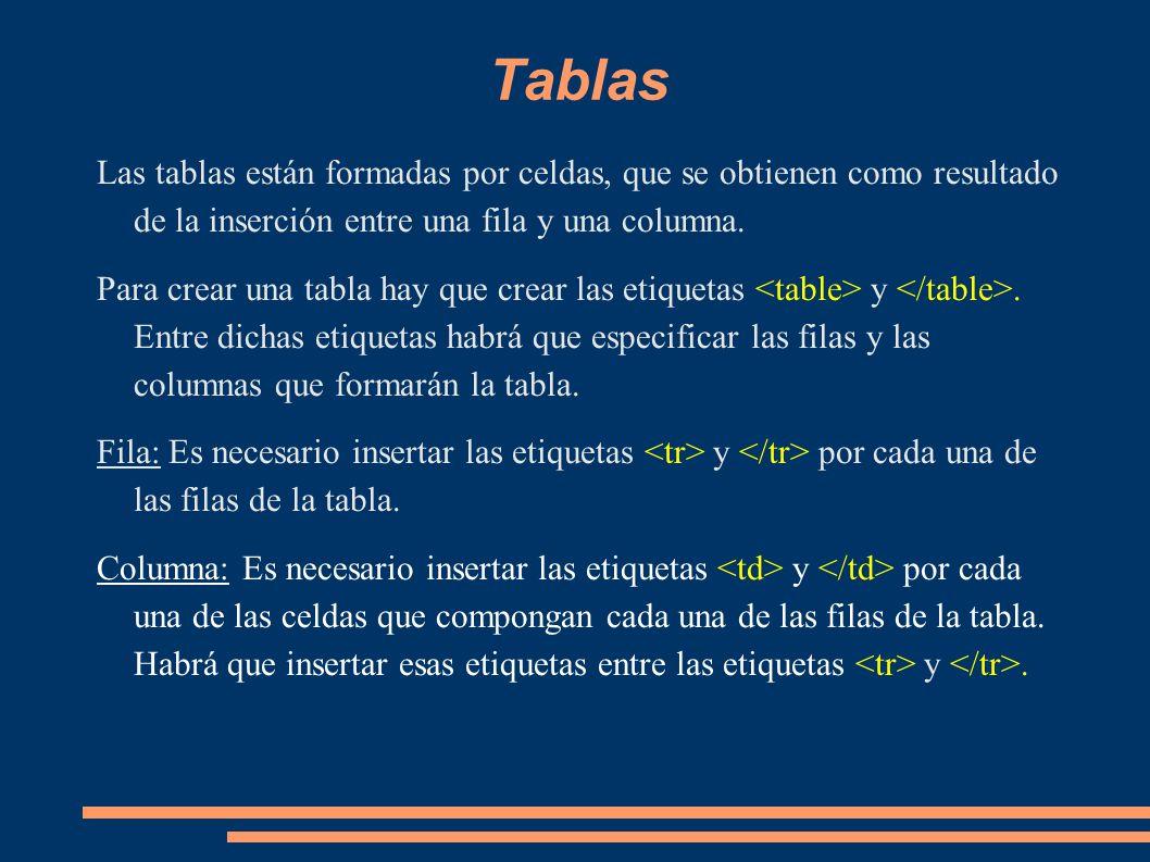 Tablas Las tablas están formadas por celdas, que se obtienen como resultado de la inserción entre una fila y una columna.