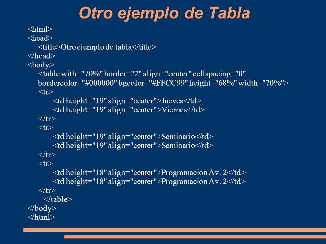 Otro ejemplo de Tabla <html> <head>
