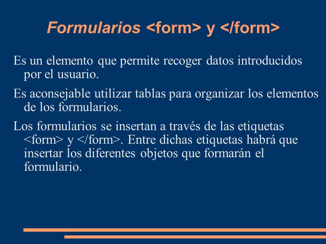 Formularios <form> y </form>