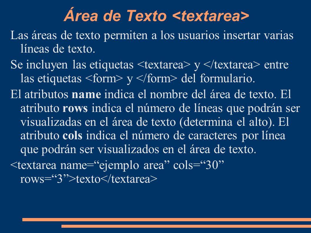 Área de Texto <textarea>