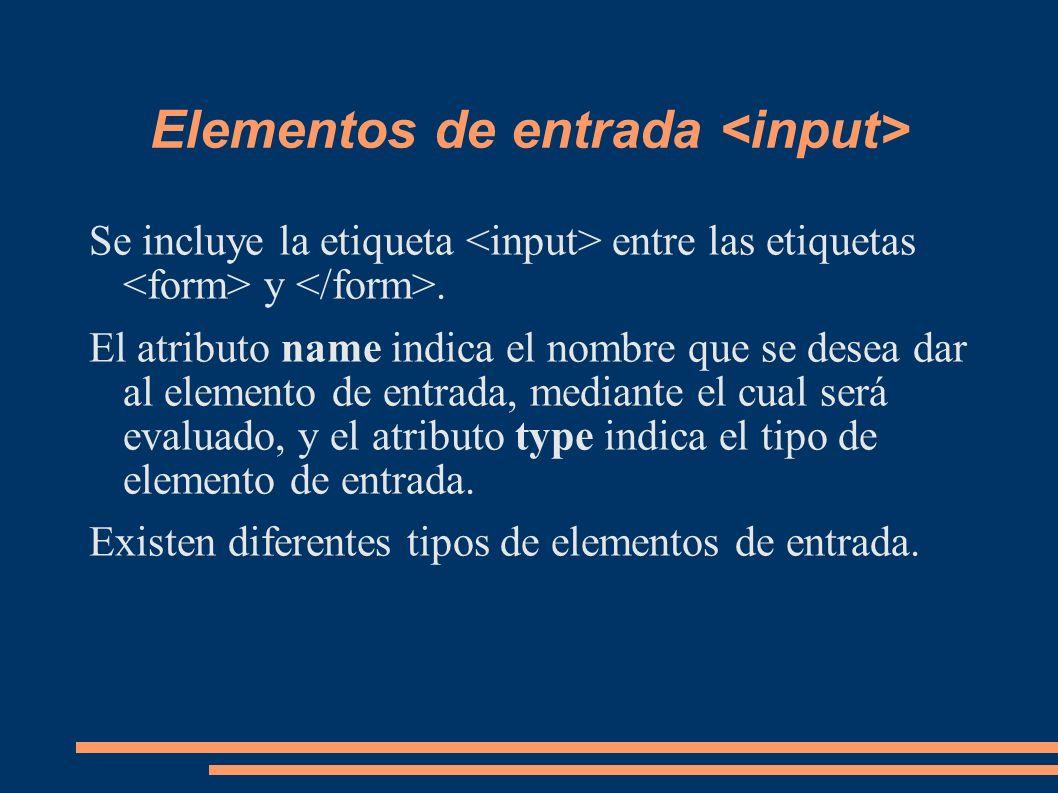 Elementos de entrada <input>