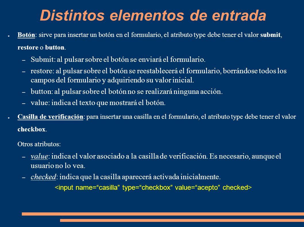 Distintos elementos de entrada