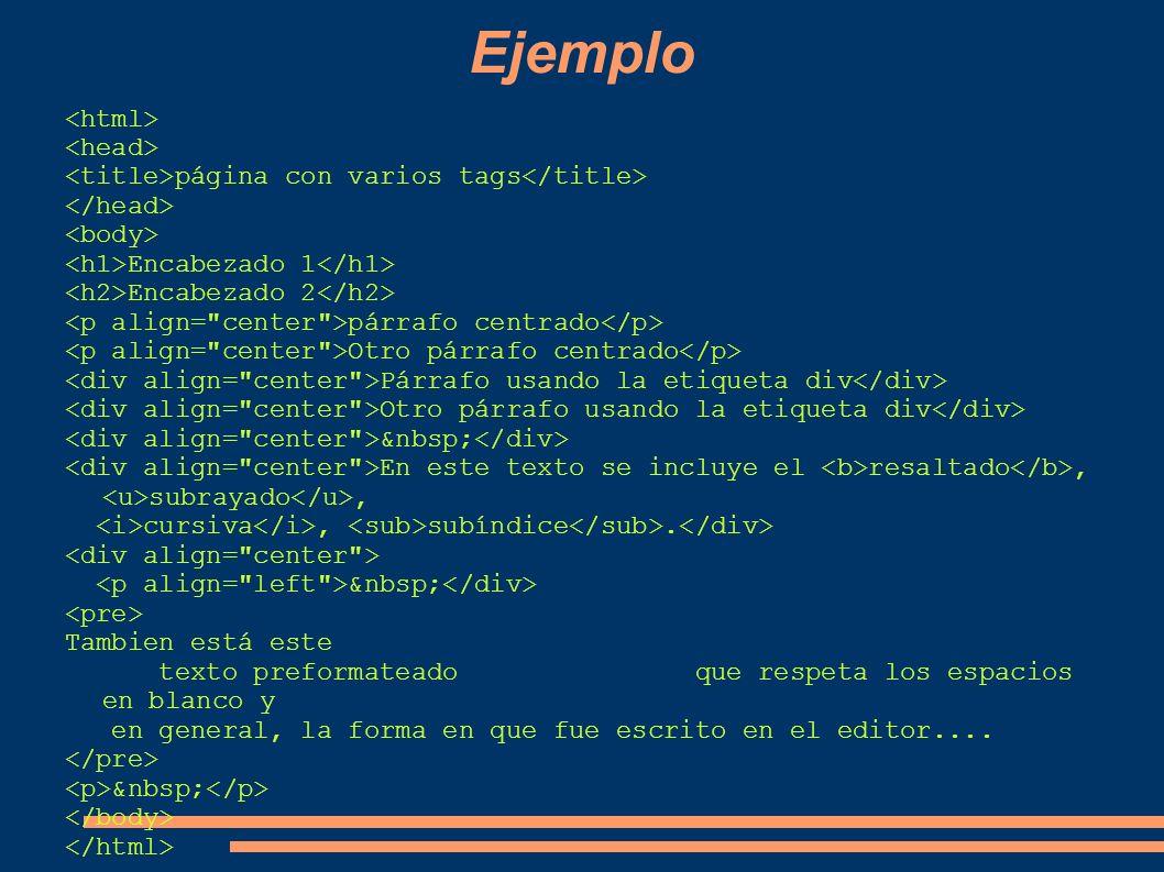 Ejemplo <html> <head>