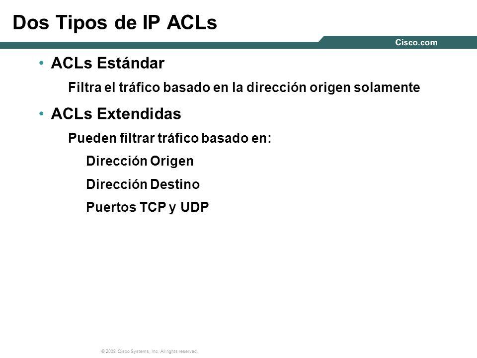 Dos Tipos de IP ACLs ACLs Estándar ACLs Extendidas