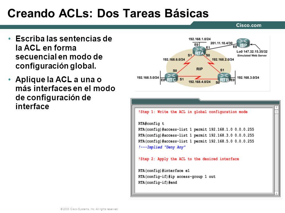 Creando ACLs: Dos Tareas Básicas