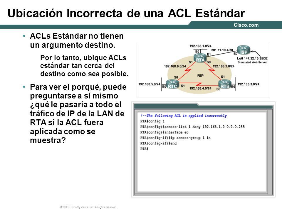 Ubicación Incorrecta de una ACL Estándar