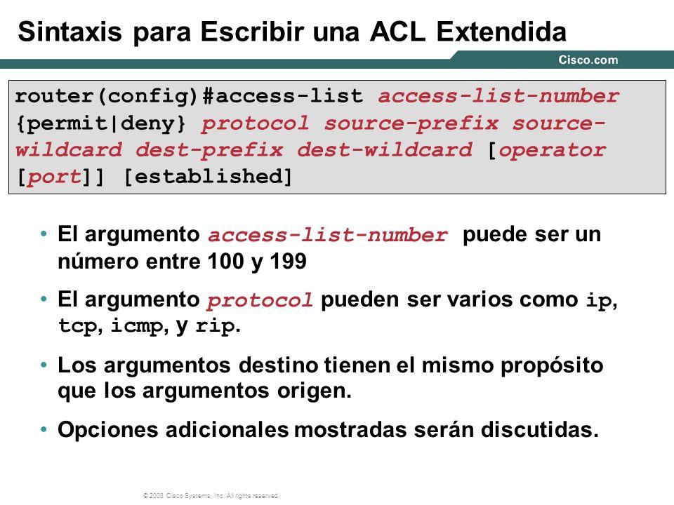 Sintaxis para Escribir una ACL Extendida
