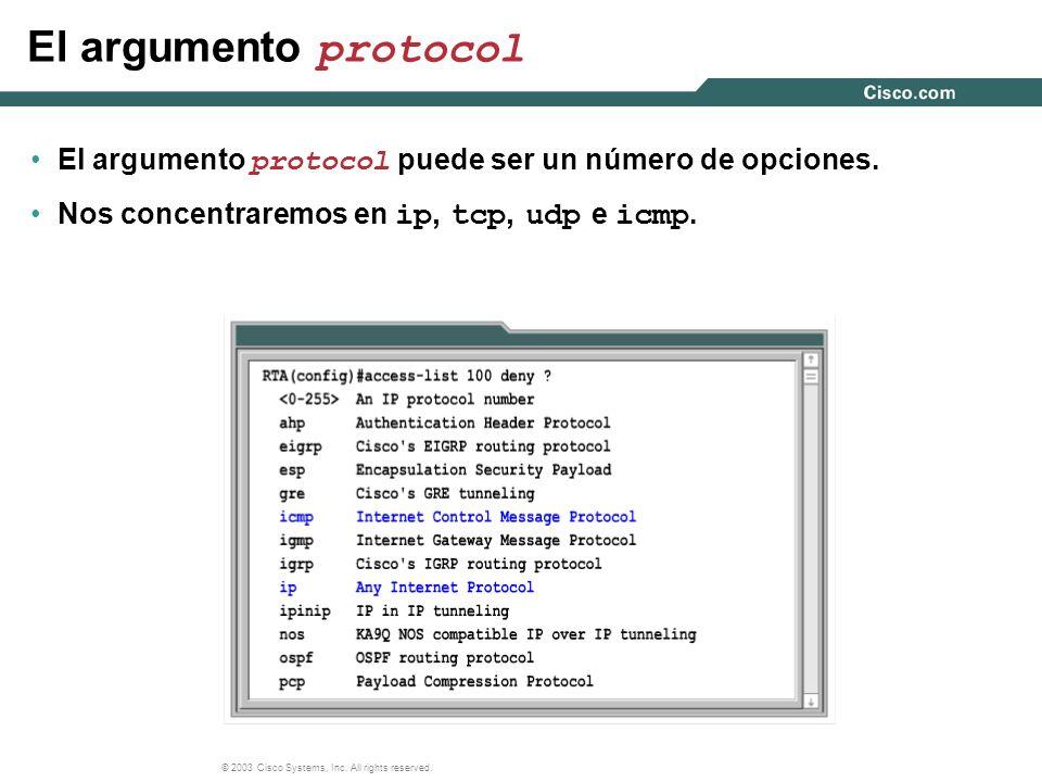El argumento protocol El argumento protocol puede ser un número de opciones.