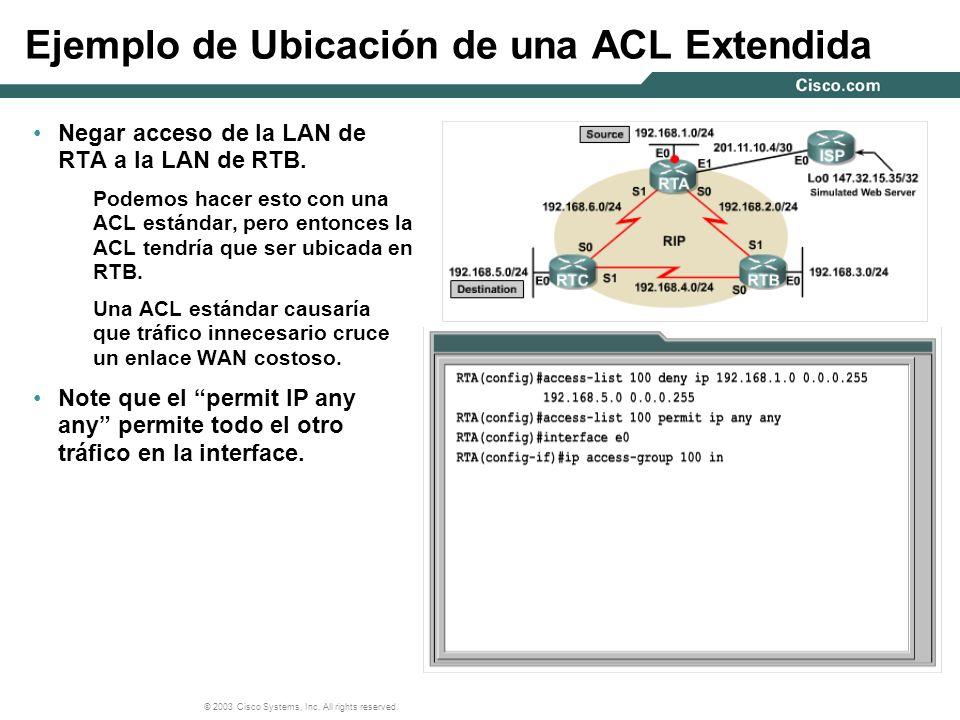 Ejemplo de Ubicación de una ACL Extendida