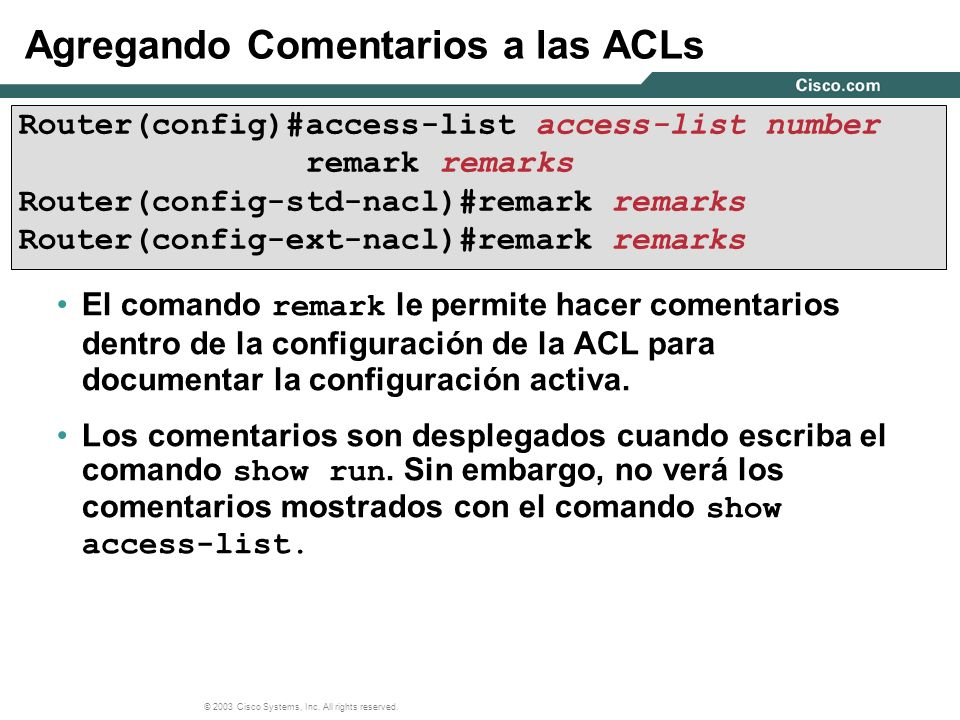 Agregando Comentarios a las ACLs