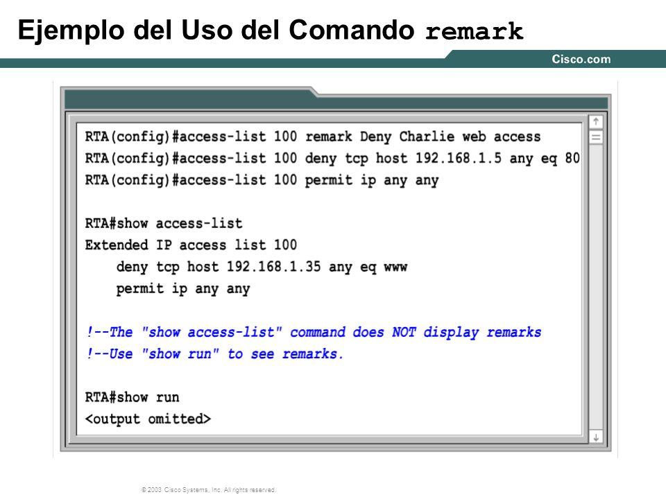 Ejemplo del Uso del Comando remark