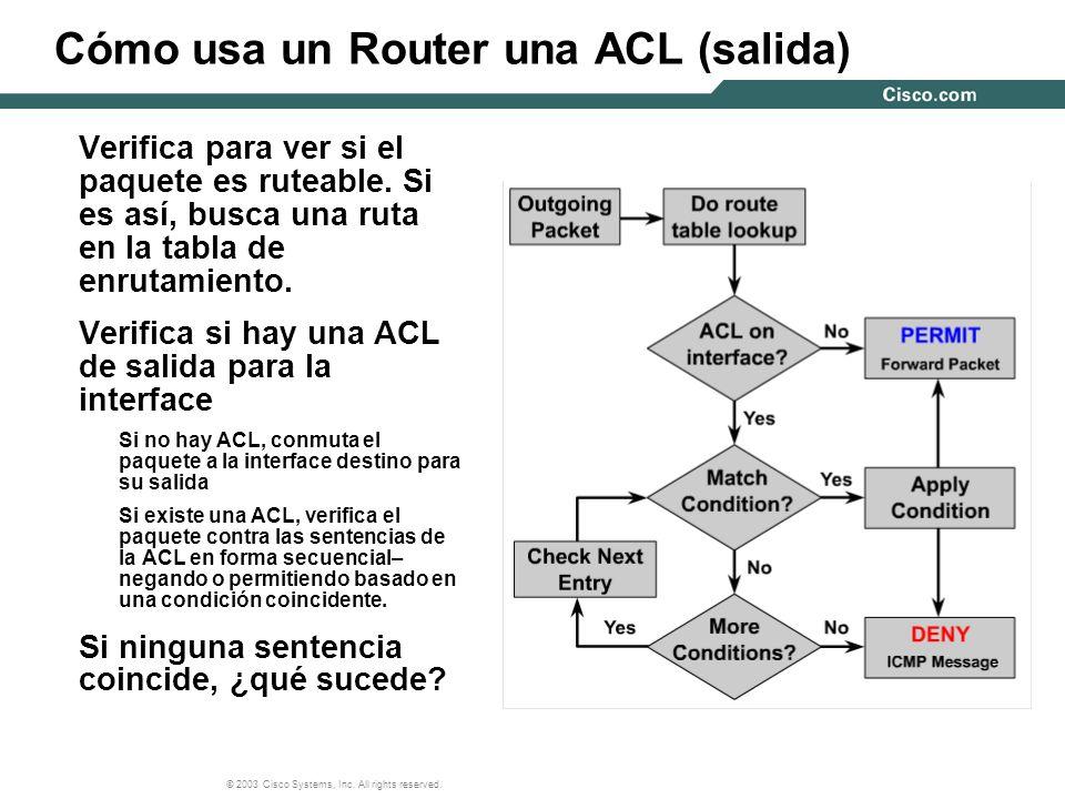 Cómo usa un Router una ACL (salida)
