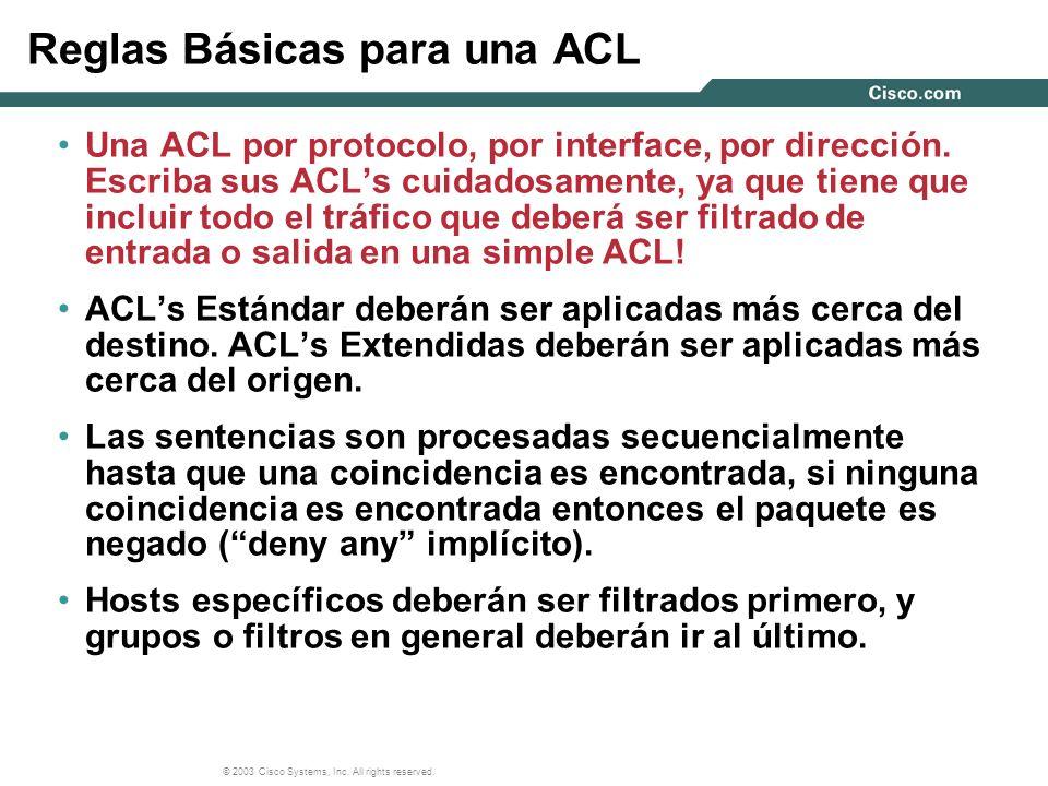 Reglas Básicas para una ACL