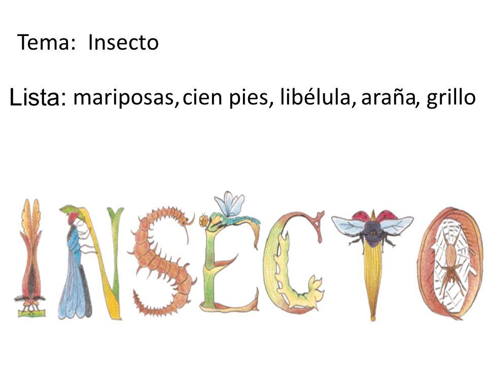 Tema: Insecto Lista: mariposas, cien pies, libélula, araña , grillo