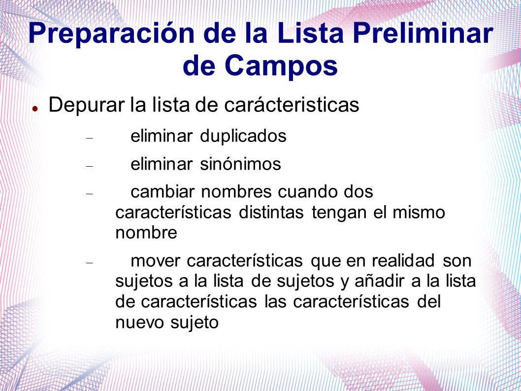 Preparación de la Lista Preliminar de Campos